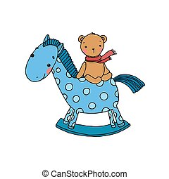 Horse and Bear. Kids toys. Hand drawn vector illustration on...