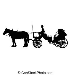 Horse and Buggy - A black silhouette of a horse and buggy or...