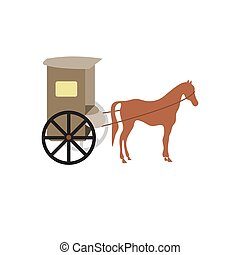 horse and carriage. flat vector design illustration