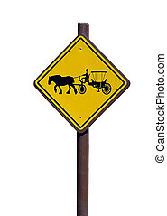Photographed horse and carriage crossing warning sign Florida.