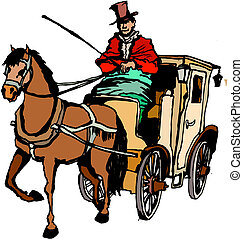 Horse and Coach  - Vector illustration of Horse and Coach