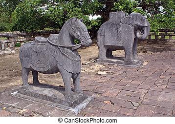 Horse and elephant