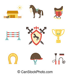 Horse and equestrian icons in flat style with a horse or...