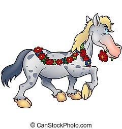 Horse and flowers  - Highly detailed cartoon animal