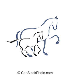 Horse and foal. A vector illustration