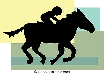 Horse and jockey - A silhouette of a cartoon horse and...