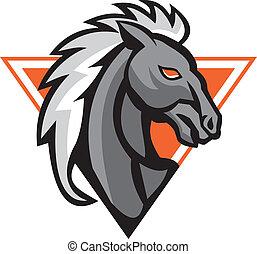 Horse and Jockey Racing Retro - Illustration of a horse head...