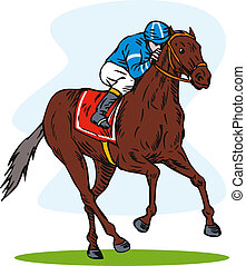 Horse and Jockey Racing Retro - Illustration of a horse and...