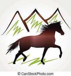 Horse and mountains logo vector