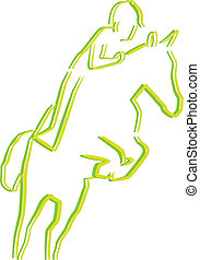 outline of Horse and ride