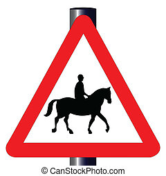 Horse and Rider Traffic Sign - The traditional 'HORSE AND...