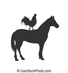 horse and rooster, icon, vector illustration