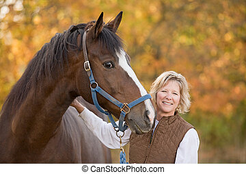 Horse and Woman Smiling