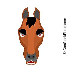 Horse angry emoji. Steed evil emotions. hoss aggressive. Vector illustration