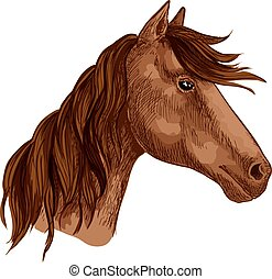 Horse animal brown stallion racehorse vector icon