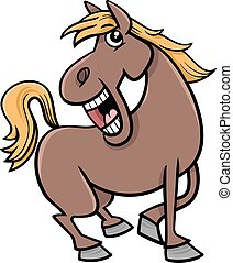 horse animal cartoon - Cartoon Illustration of Funny Horse...