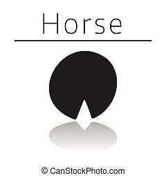 Horse animal track with name and reflection on white ...