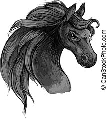 Horse art portrait. Mustang with raging eyes.