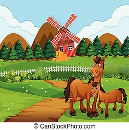 Horse at the farm landscape