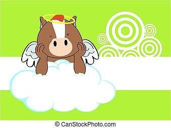 horse baby cute angel cartoon