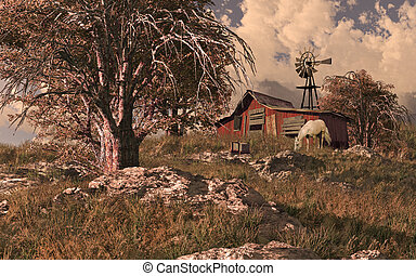 Horse Barn And Windmill