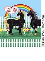 Horse bird rainbow