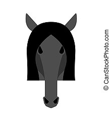 Horse black head isolated. Equine face Vector illustration