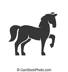Horse Black Silhouette Icon on White Background.