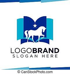 Horse Book logo vector template