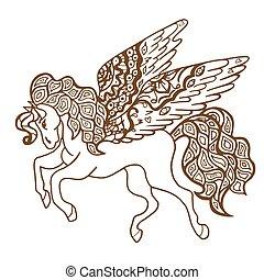 horse., brauner
