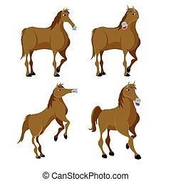 Horse Brown Animal Character Set Vector