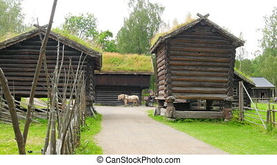 """""""horse cab people, norwagian village, green grass rooftop,..."""