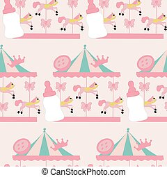 horse carousel and baby girl elements, seamless pattern