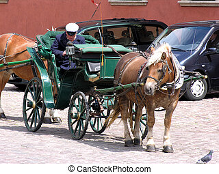 Awaitng carriage. Cars in the background. Old and new in one place.