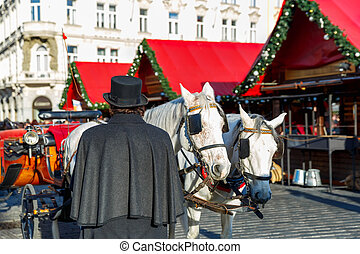 Horse carriage on Old Town Square of Prague