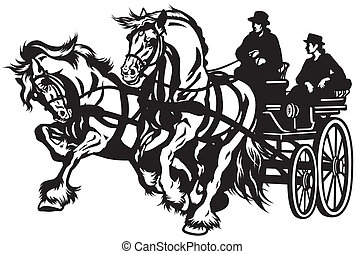 horse carriage - pair horses drawn carriage black and white ...