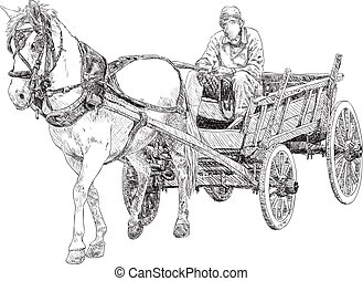 Horse cart - Horse and horse cart, sketch