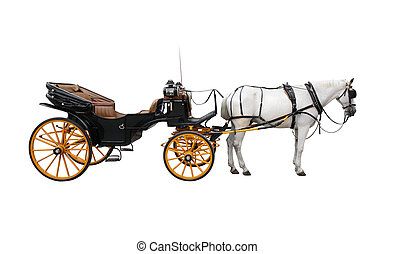 Horse Cart - Horse and nice vintage coach with big yellow...