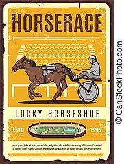 Horse, cart, jockey on hippodrom. Harness racing - Harness...