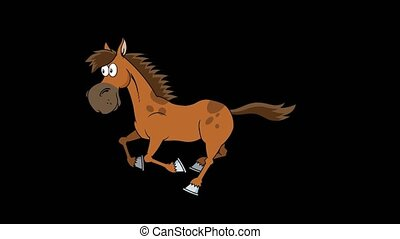 Horse Cartoon Character Running. 4K Animation Video Motion Graphics Without Background