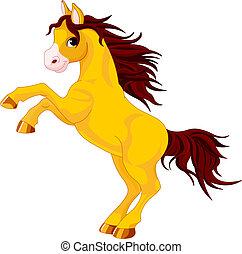 Horse - Cartoon horse rearing up. Isolated