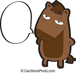 horse cartoon vector - horse with speech bubble
