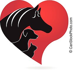 Horse cat and dog heart love shape logo