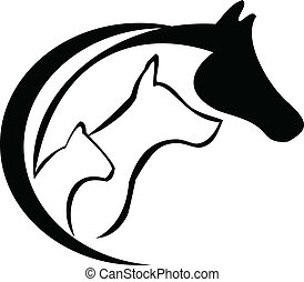 Horse, cat and dog