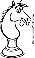 horse chess cartoon coloring page - Black and White Cartoon...