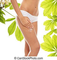 Horse chestnut body cream - Woman legs with moisturizer...