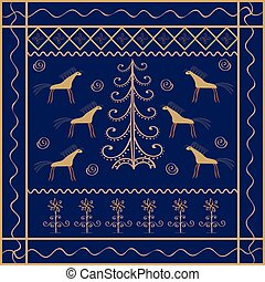 Horse Christmas tree ornament ethnic background. Animals...