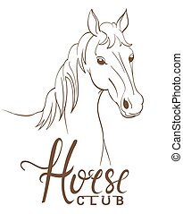 horse club emblem with line art drawing. vector