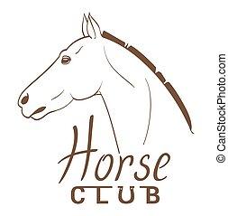 horse club symbol line art drawing. vector