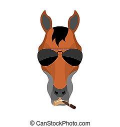 Horse Cool brutal serious avatar of emotions. Steed smoking cigar emoji. hoss strict. Vector illustration
